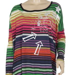 Desigual Rainbow Striped Printed Blouse Top S